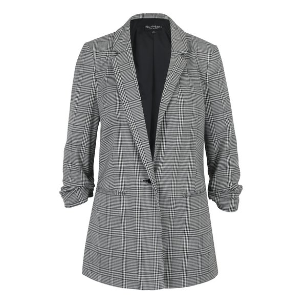 Sacou lung alb&negru cu model houndstooth Miss Selfridge