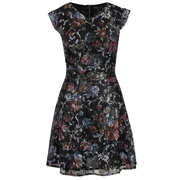 Rochie neagră cu print floral Mela London