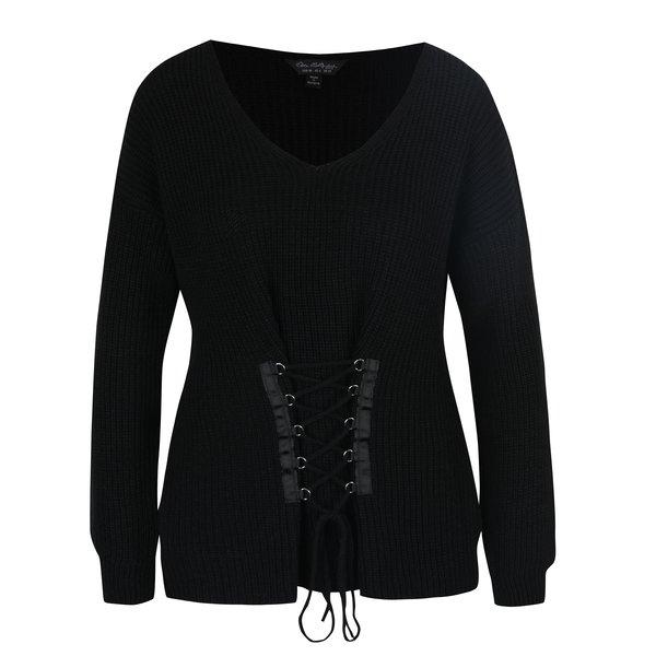 Pulover negru cu aplicație decorativă tip corset Miss Selfridge