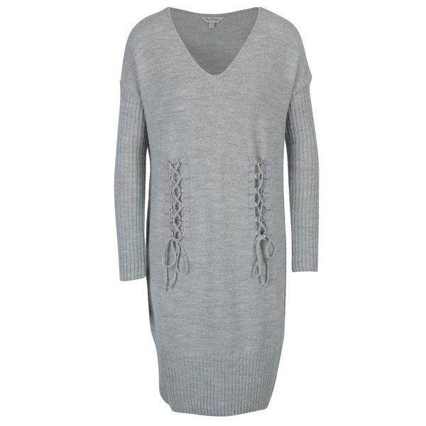 Rochie pulover gri deschis cu șiret decorativ Miss Selfridge
