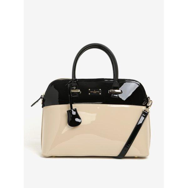 Geantă bej&negru cu aspect lăcuit Pauls Boutique Maisy