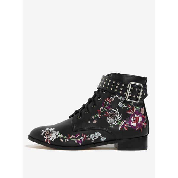 Ghete negre cu broderie si catarama decorativa Miss Selfridge