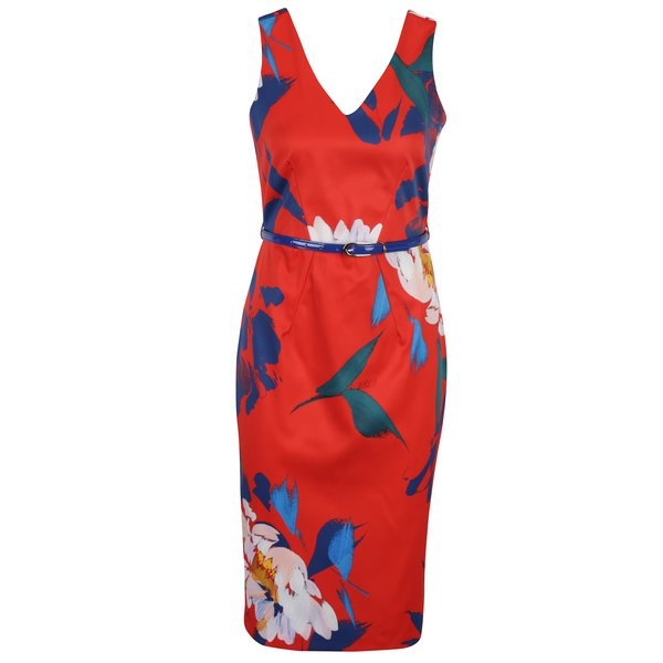 Rochie roșie cu model floral Closet