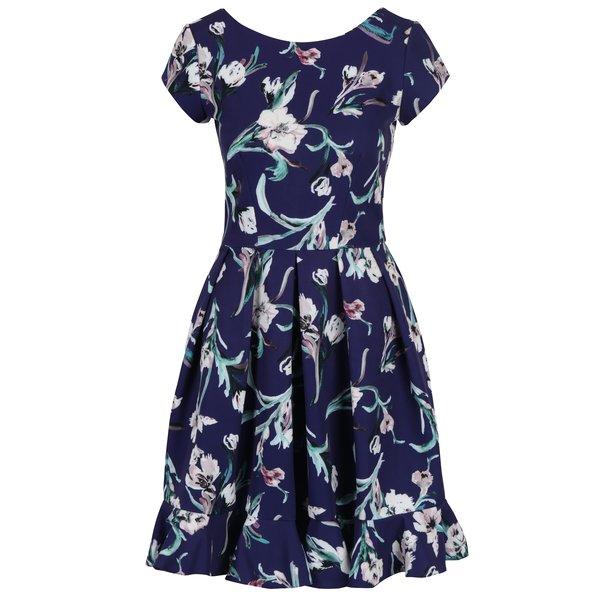 Rochie albastru închis cu imprimeu floral, pliuri și volan Closet