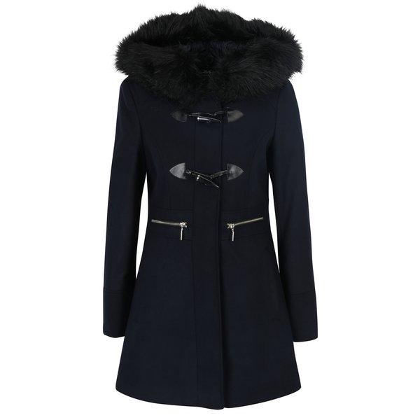 Palton albastru închis cu glugă Miss Selfridge