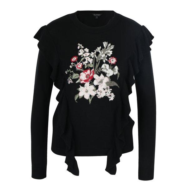 Pulover negru cu broderie florală și volane Miss Selfridge
