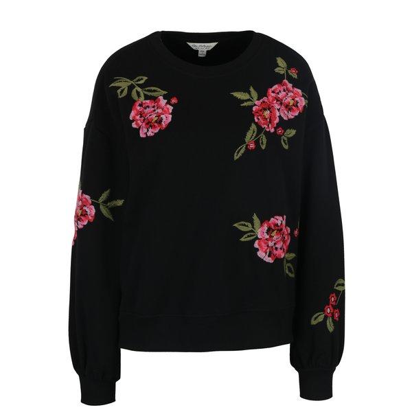 Pulover negru cu broderie florală Miss Selfridge