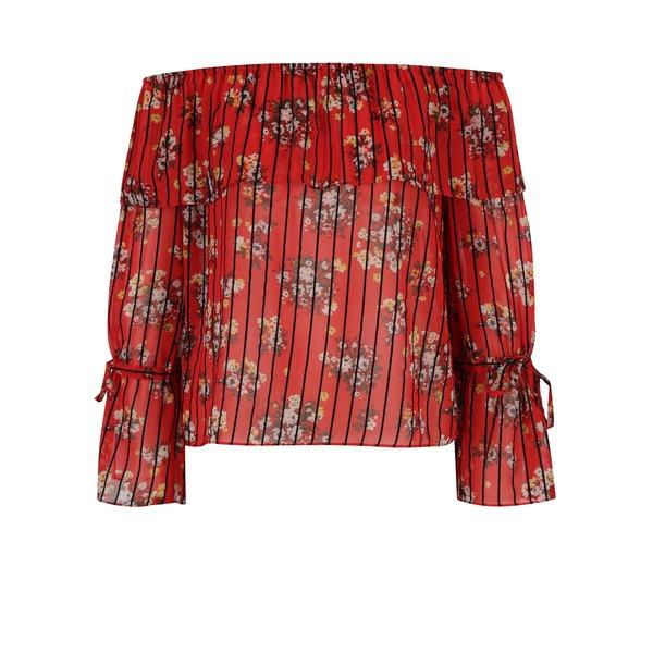 Bluză roșie cu model floral&dungi și umeri expuși Miss Selfridge