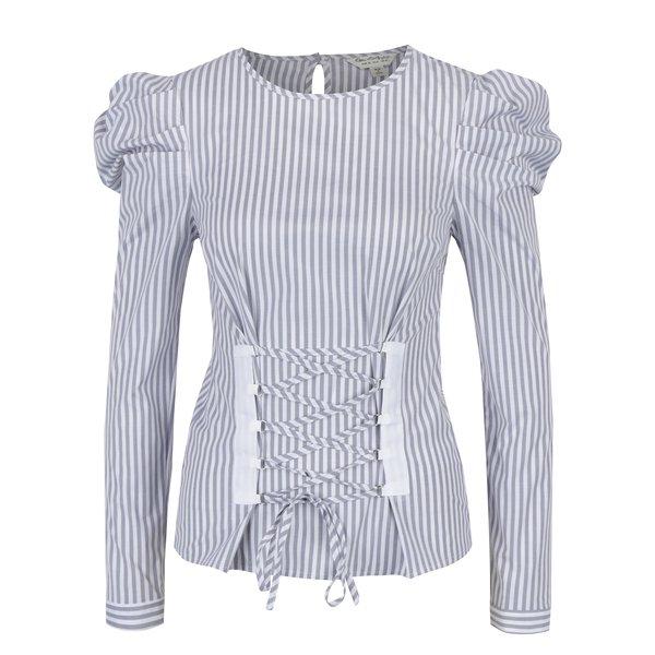 Bluză gri&crem în dungi cu șiret decorativ Miss Selfridge