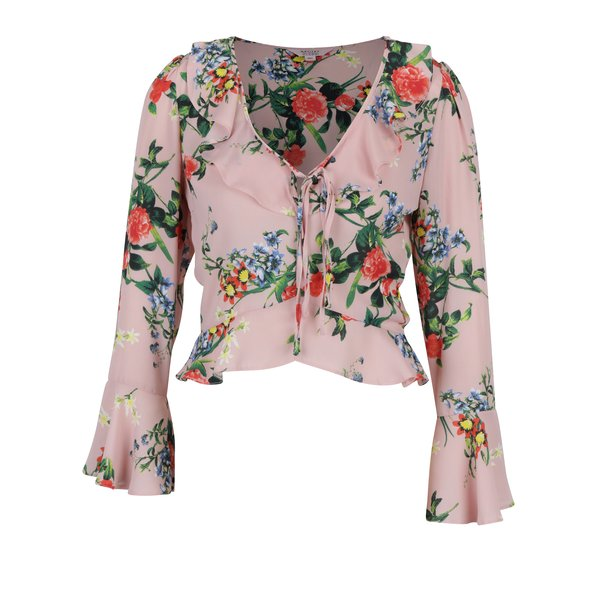 Bluza roz pal cu model floral si maneci clopot Miss Selfridge