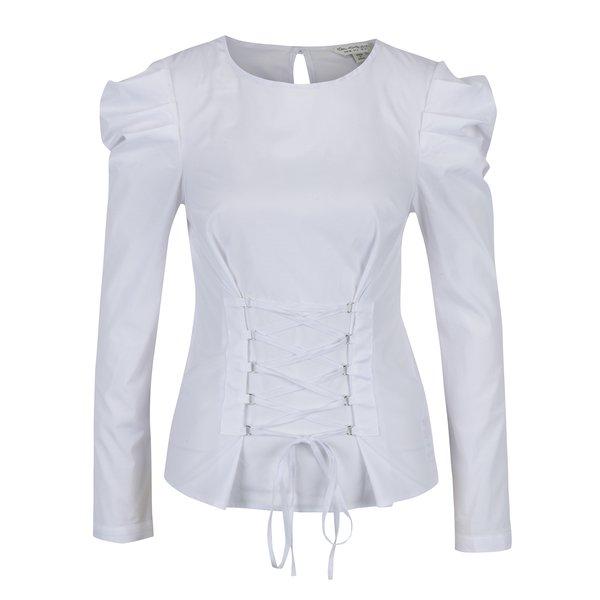 Bluză albă cu șiret decorativ în talie și mâneci bufante Miss Selfridge