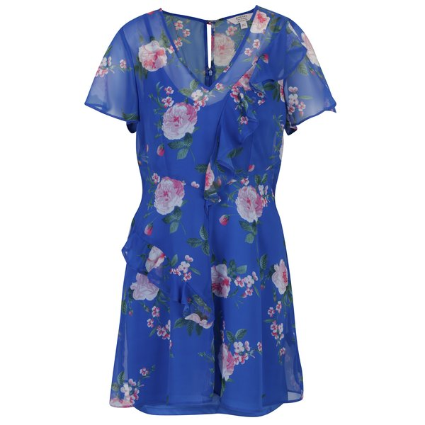 Rochie albastră cu model floral și volan Miss Selfridge
