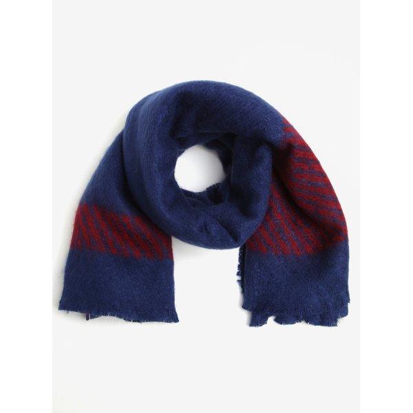 Eșarfă pufoasă albastru cu roșu pentru femei Tommy Hilfiger Blanket