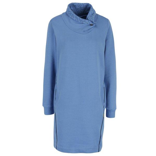 Rochie albastra cu guler inalt asimetric Tranquillo Maitagorry