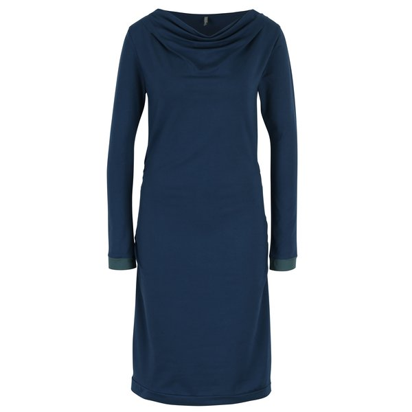 Rochie midi albastru petrol cu decolteu drapat Tranquillo Raiven