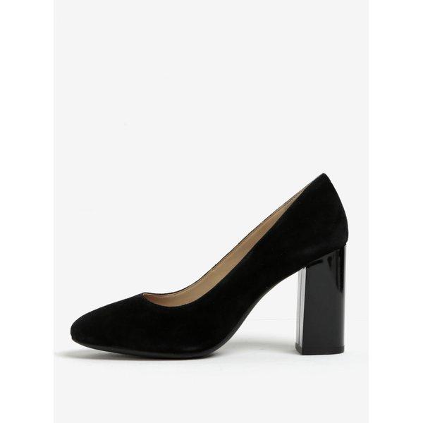 Pantofi negri din piele cu toc lat Geox Audalies