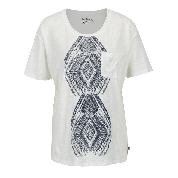 Tricou crem din bumbac cu print ornamental - Roxy Wild Chaman