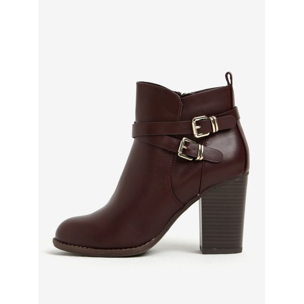 Ghete bordo cu catarame si toc Dorothy Perkins