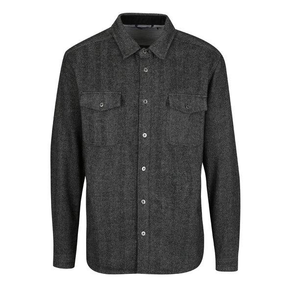 Camasa gri inchis din amestec de lana cu model chevron SUIT Josh