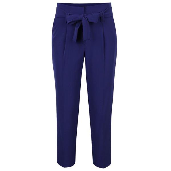 Pantaloni conici mov inchis cu funda in talie - Dorothy Perkins