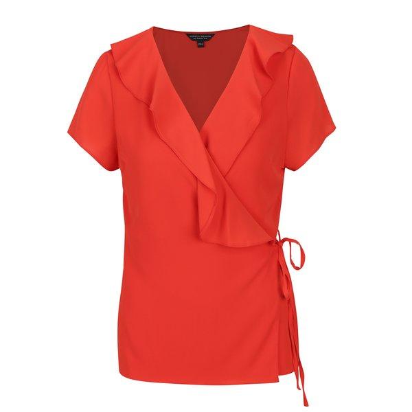 Bluza rosie cu decolteu suprapus si volane Dorothy Perkins