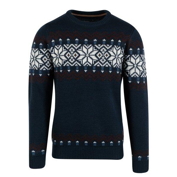 Pulover barbatesc bleumarin cu motiv norvegian - Blend