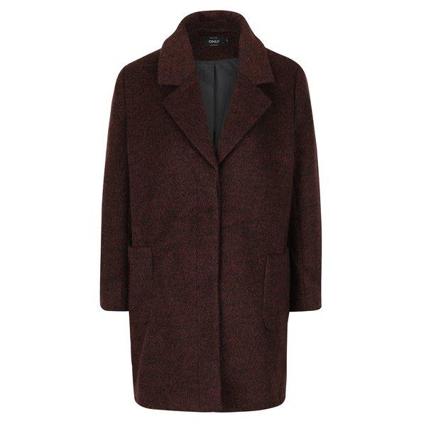 Palton maro inchis melanj din amestec de lana ONLY Mary