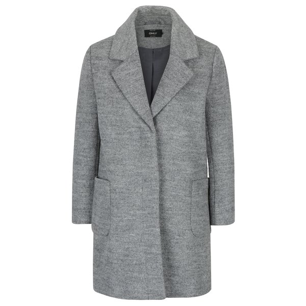 Palton gri melanj din amestec de lana ONLY Mary
