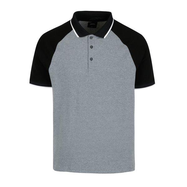 Tricou polo cu maneci raglan gri & negru – Burton Menswear London