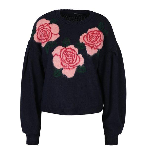 Pulover bleumarin cu trandafiri - Miss Selfridge