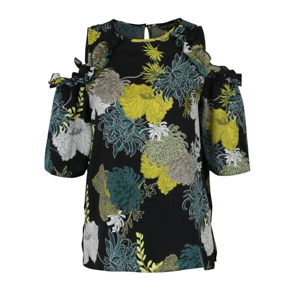 Bluza neagra cu print floral si decupaj pe umeri Dorothy Perkins