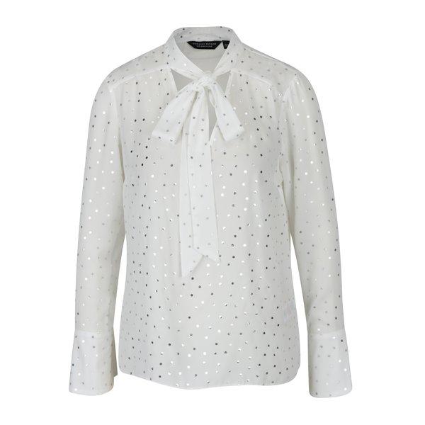 Bluza alba cu model de buline argintii si guler - esarfa Dorothy Perkins