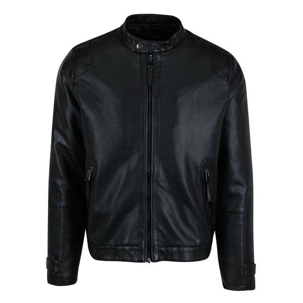 Jacheta neagra cu perforatii si aspect de piele – Burton Menswear London