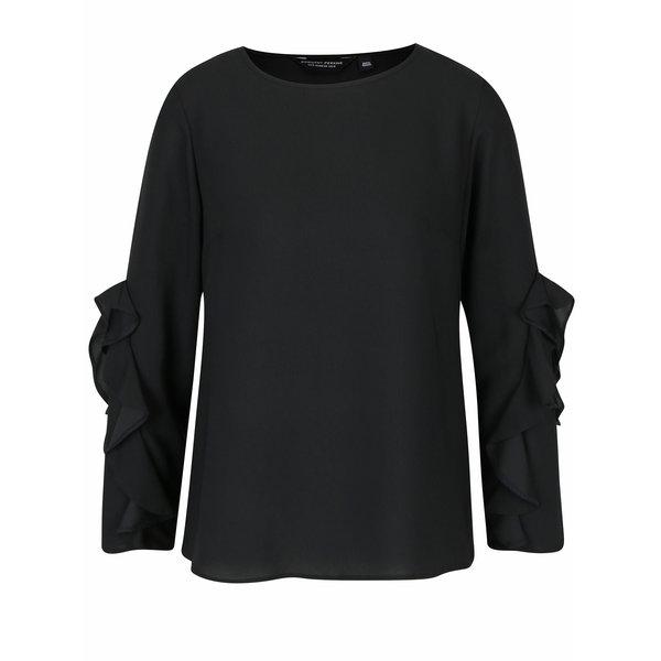 Bluza neagra cu maneci cu volane Dorothy Perkins