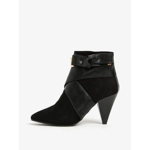 Botine negre cu toc conic si funda - Miss Selfridge