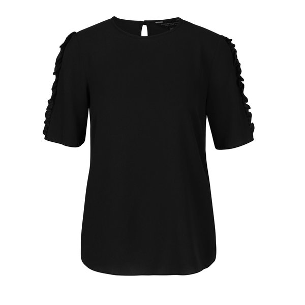 Bluza neagra cu volane pe maneci Dorothy Perkins