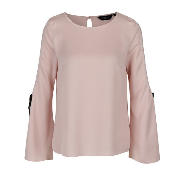 Bluza roz cu sireturi la maneci Dorothy Perkins