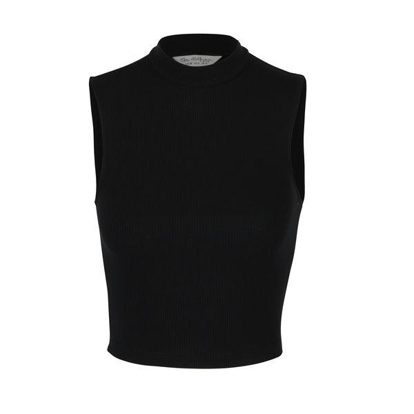 Crop top negru din material reiat - Miss Selfridge