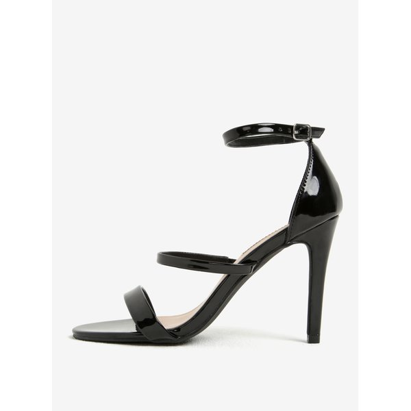 Sandale negre glossy cu toc Dorothy Perkins