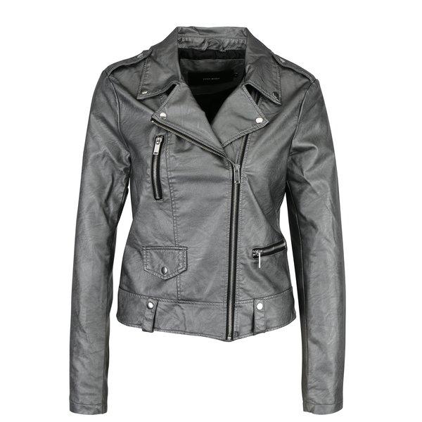 Jacheta biker argintie din piele sintetica VERO MODA Safra