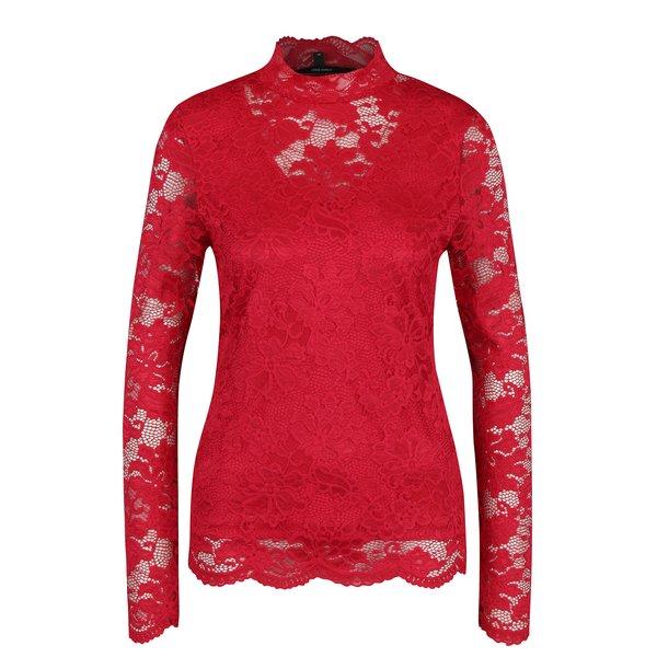 Bluza rosie din dantela cu decolteu translucid - VERO MODA Joy