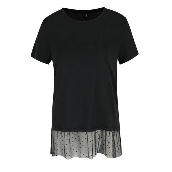 Tricou negru cu detaliu din plasa cu buline ONLY Mia