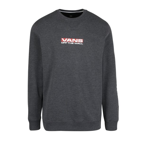 Bluza sport gri inchis melanj cu print text VANS Side Waze