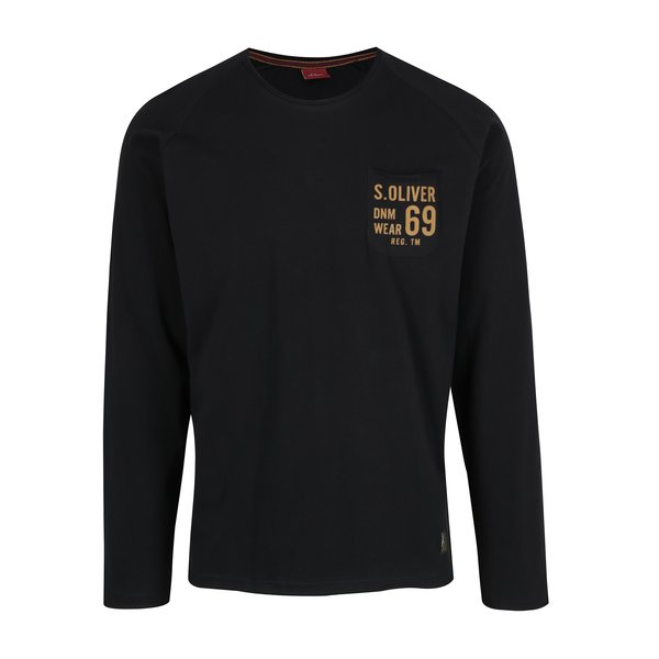 Bluza slim fit negru&portocaliu cu print s.Oliver