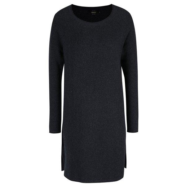 Rochie pulover albastru inchis cu slit lateral ONLY Celia