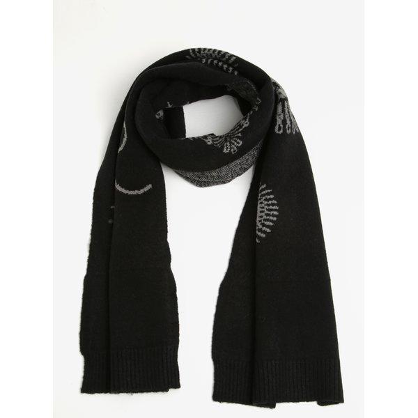 Fular tricotat negru cu print geometric Desigual Rubi