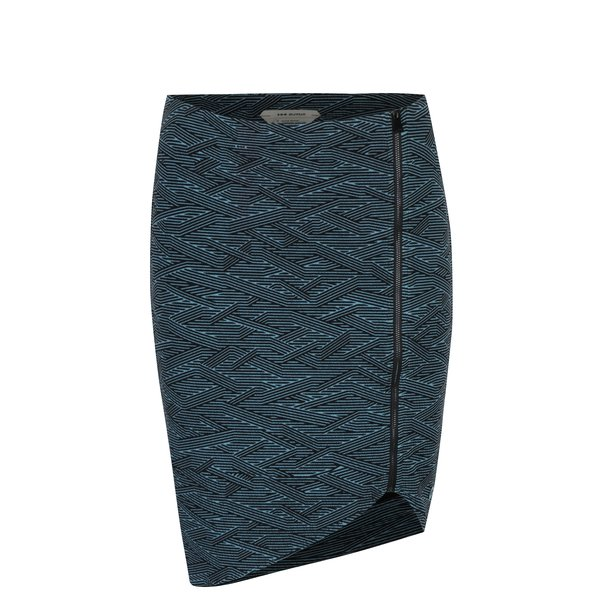 Fusta asimetrica negru&albastru cu print geometric