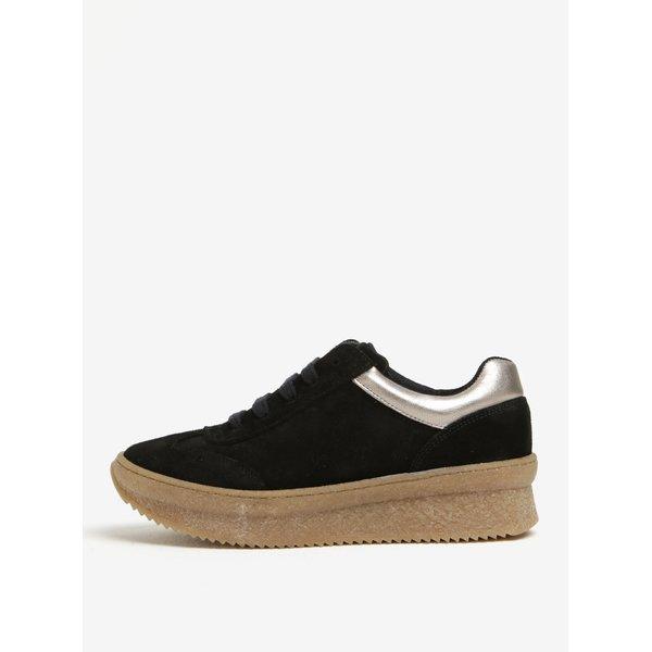 Pantofi sport negri din piele intoarsa cu platforma si detalii aurii - OJJU
