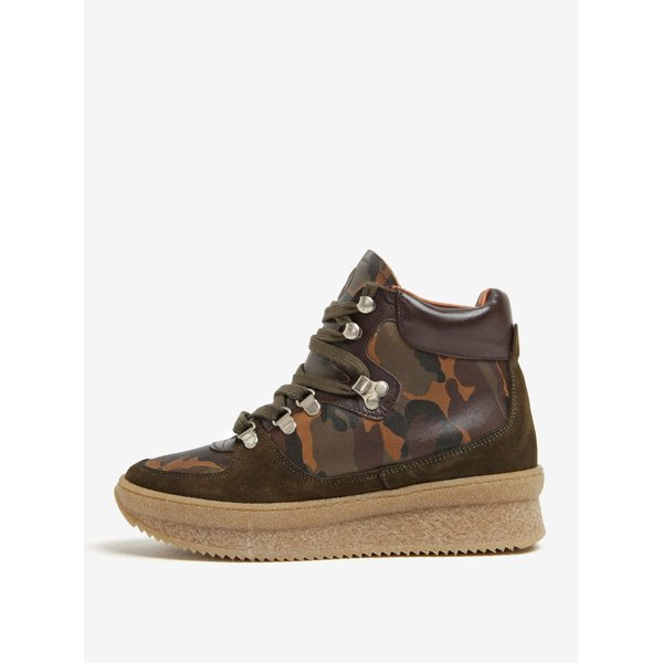 Pantofi sport kaki cu platforma si print army din piele OJJU