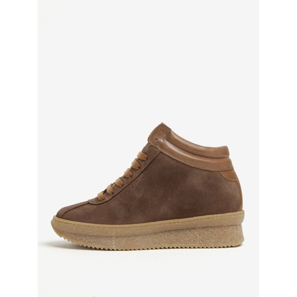 Pantofi sport maro din piele intoarsa cu platforma – OJJU